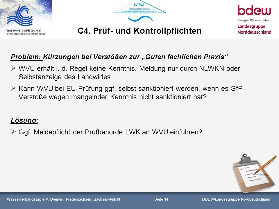 Wasserverbandstag e.V. Bremen, Niedersachsen, Sachsen-AnhaltBDEW-Landesgruppe Norddeutschland C4. Prüf- und Kontrollpflichten Problem: Kürzungen bei V