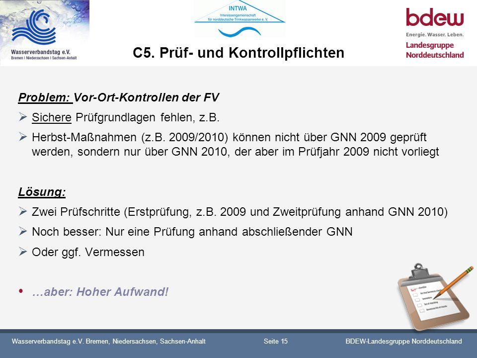 Wasserverbandstag e.V. Bremen, Niedersachsen, Sachsen-AnhaltBDEW-Landesgruppe Norddeutschland C5. Prüf- und Kontrollpflichten Problem: Vor-Ort-Kontrol
