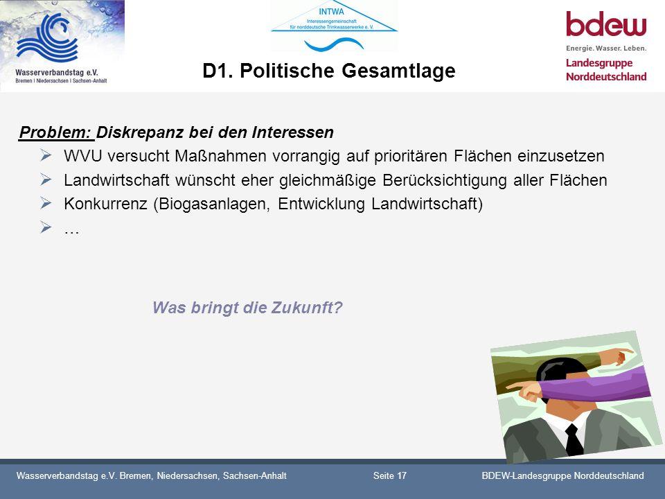 Wasserverbandstag e.V. Bremen, Niedersachsen, Sachsen-AnhaltBDEW-Landesgruppe Norddeutschland D1. Politische Gesamtlage Problem: Diskrepanz bei den In