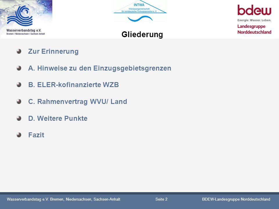 Wasserverbandstag e.V. Bremen, Niedersachsen, Sachsen-AnhaltBDEW-Landesgruppe Norddeutschland Gliederung Zur Erinnerung A. Hinweise zu den Einzugsgebi