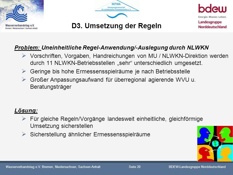 Wasserverbandstag e.V. Bremen, Niedersachsen, Sachsen-AnhaltBDEW-Landesgruppe Norddeutschland D3. Umsetzung der Regeln Problem: Uneinheitliche Regel-A