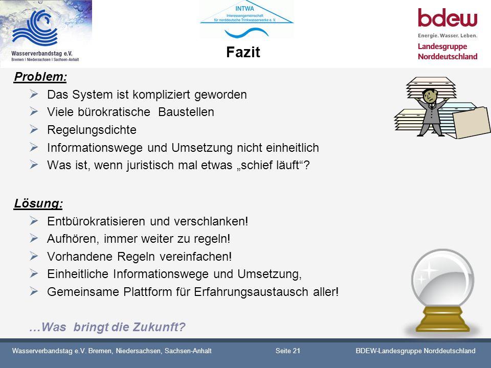 Wasserverbandstag e.V. Bremen, Niedersachsen, Sachsen-AnhaltBDEW-Landesgruppe Norddeutschland Fazit Problem: Das System ist kompliziert geworden Viele