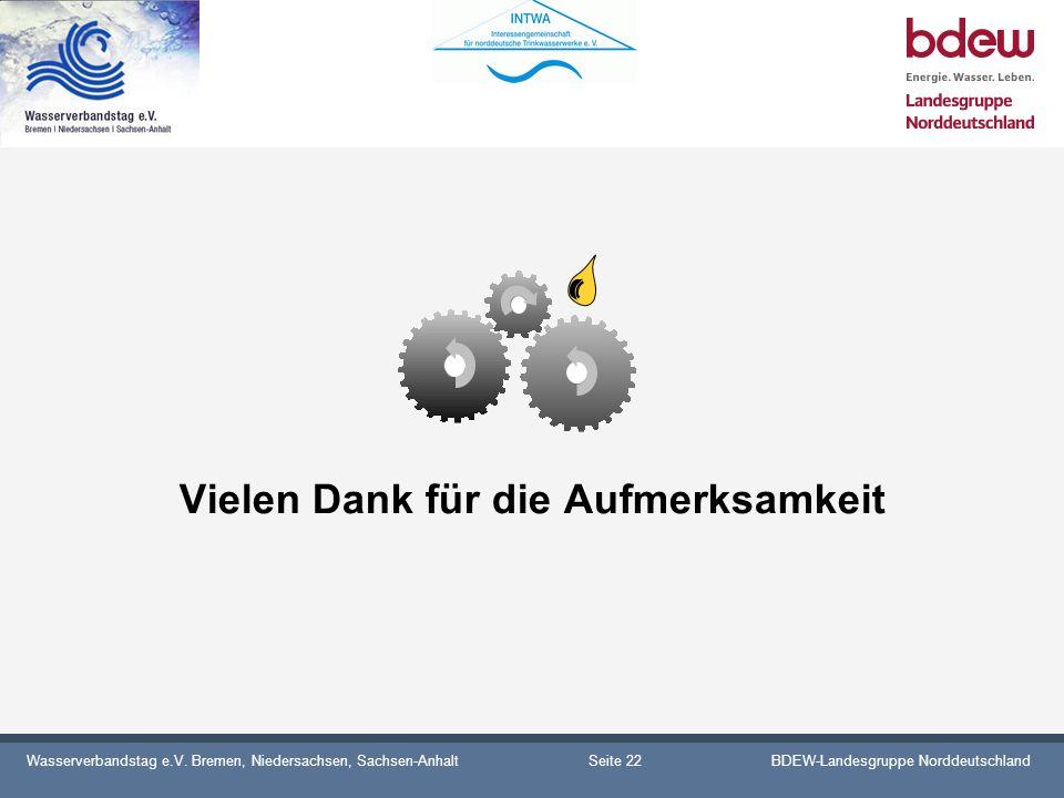 Wasserverbandstag e.V. Bremen, Niedersachsen, Sachsen-AnhaltBDEW-Landesgruppe Norddeutschland Vielen Dank für die Aufmerksamkeit Seite 22