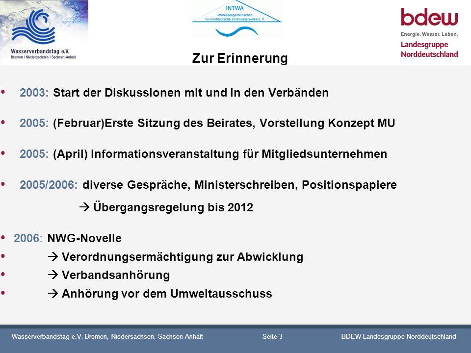 Wasserverbandstag e.V. Bremen, Niedersachsen, Sachsen-AnhaltBDEW-Landesgruppe Norddeutschland Zur Erinnerung 2003: Start der Diskussionen mit und in d