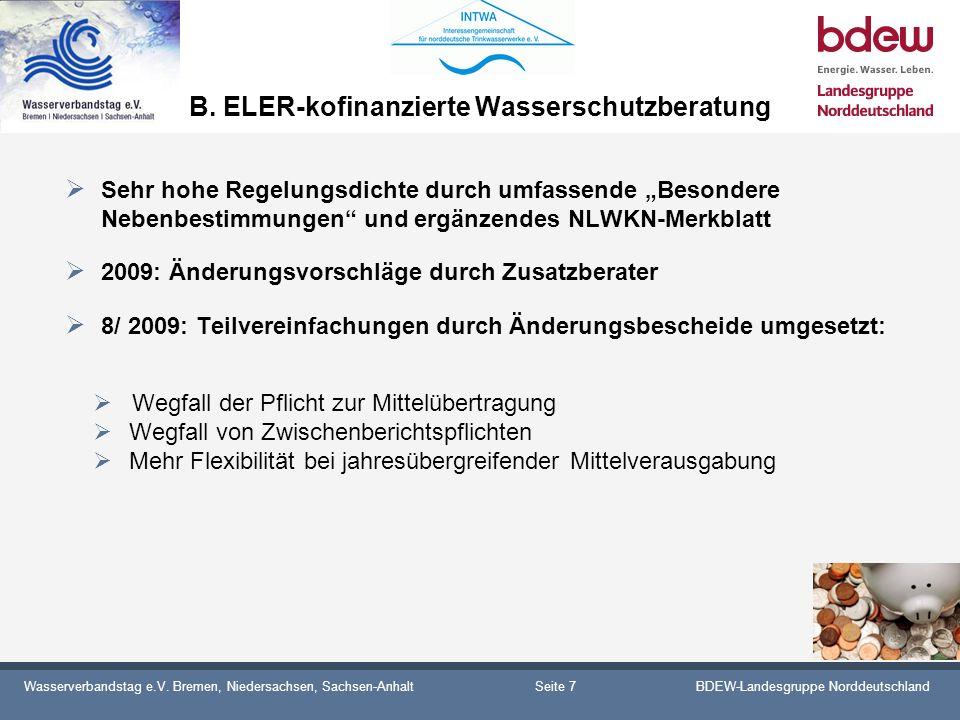 Wasserverbandstag e.V. Bremen, Niedersachsen, Sachsen-AnhaltBDEW-Landesgruppe Norddeutschland B. ELER-kofinanzierte Wasserschutzberatung Sehr hohe Reg