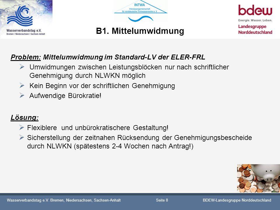Wasserverbandstag e.V. Bremen, Niedersachsen, Sachsen-AnhaltBDEW-Landesgruppe Norddeutschland B1. Mittelumwidmung Problem: Mittelumwidmung im Standard
