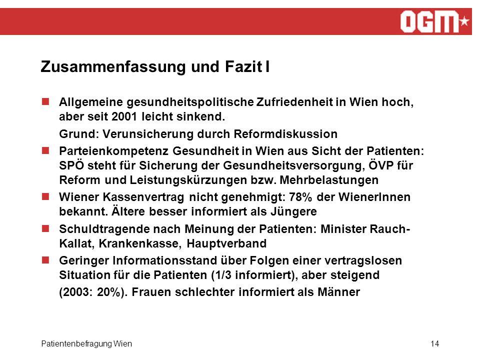 Patientenbefragung Wien14 Zusammenfassung und Fazit I Allgemeine gesundheitspolitische Zufriedenheit in Wien hoch, aber seit 2001 leicht sinkend.
