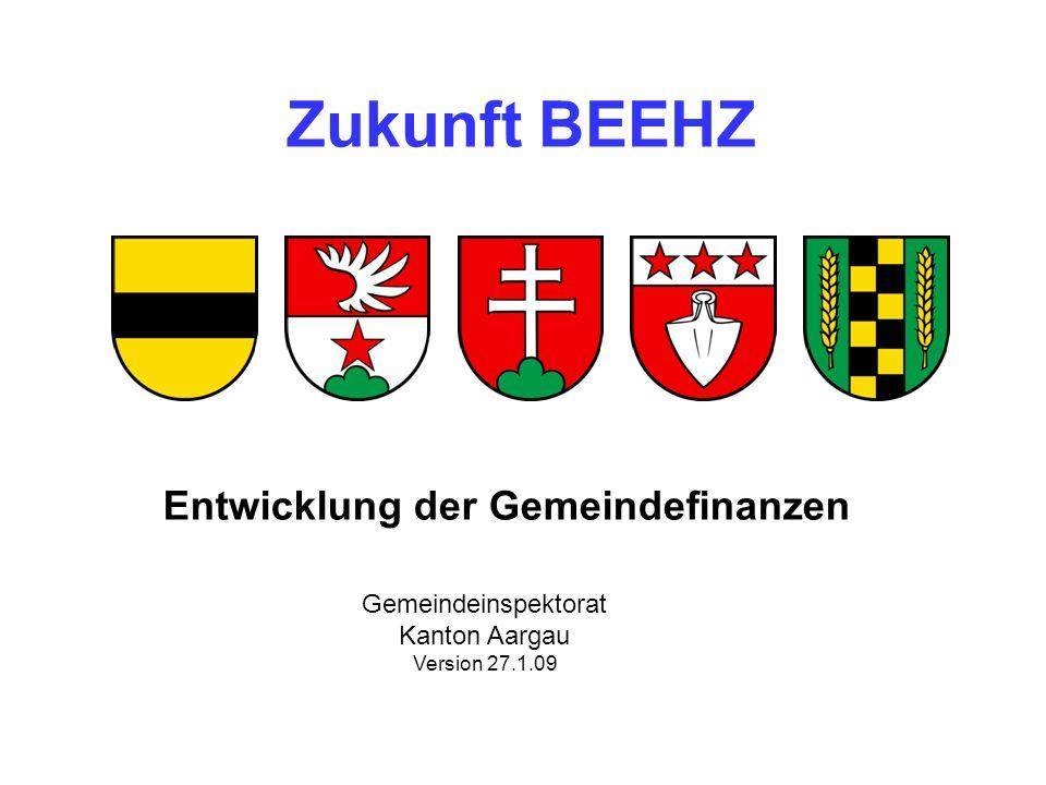 Zukunft BEEHZ Entwicklung der Gemeindefinanzen Gemeindeinspektorat Kanton Aargau Version 27.1.09