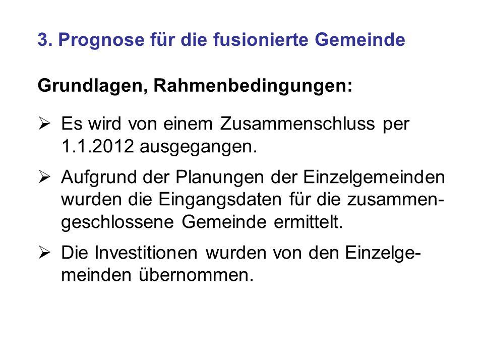 3. Prognose für die fusionierte Gemeinde Grundlagen, Rahmenbedingungen: Es wird von einem Zusammenschluss per 1.1.2012 ausgegangen. Aufgrund der Planu