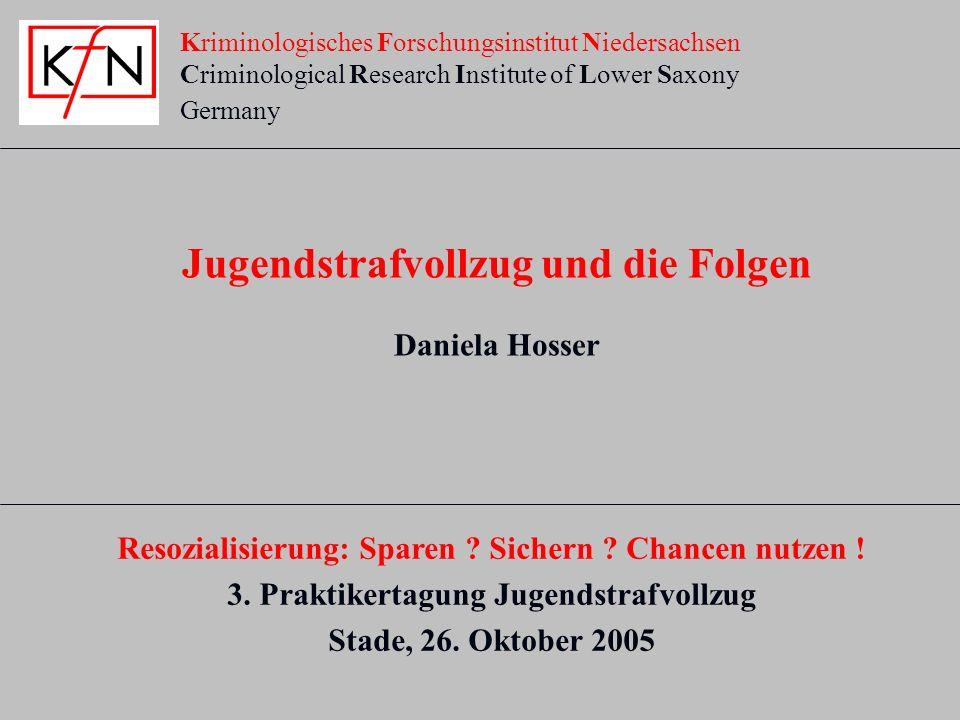 Kriminologisches Forschungsinstitut Niedersachsen Criminological Research Institute of Lower Saxony Germany Jugendstrafvollzug und die Folgen Daniela