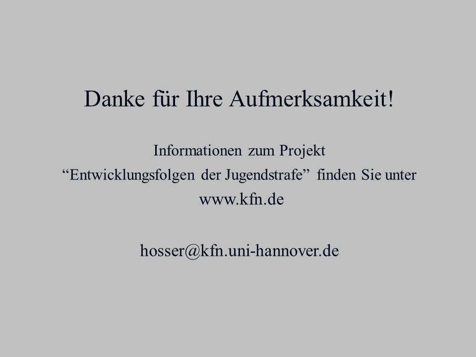 Danke für Ihre Aufmerksamkeit! Informationen zum Projekt Entwicklungsfolgen der Jugendstrafe finden Sie unter www.kfn.de hosser@kfn.uni-hannover.de