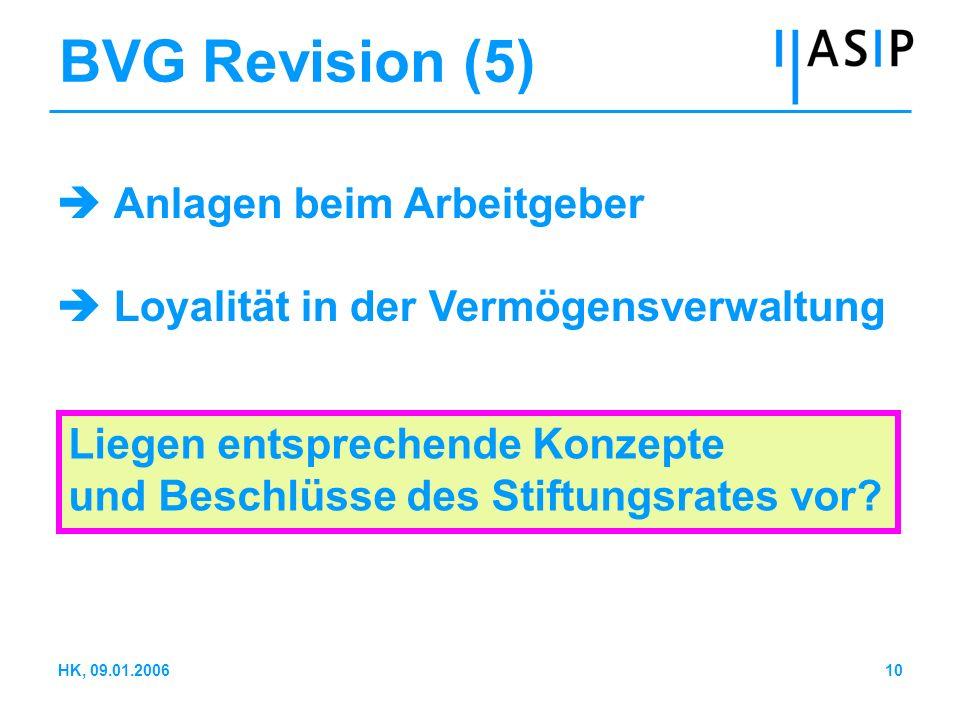 10HK, 09.01.2006 BVG Revision (5) Anlagen beim Arbeitgeber Loyalität in der Vermögensverwaltung Liegen entsprechende Konzepte und Beschlüsse des Stift