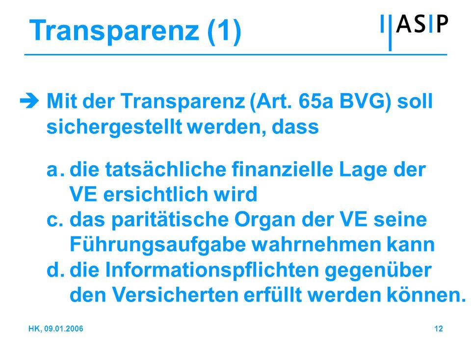 12HK, 09.01.2006 Transparenz (1) Mit der Transparenz (Art. 65a BVG) soll sichergestellt werden, dass a.die tatsächliche finanzielle Lage der VE ersich