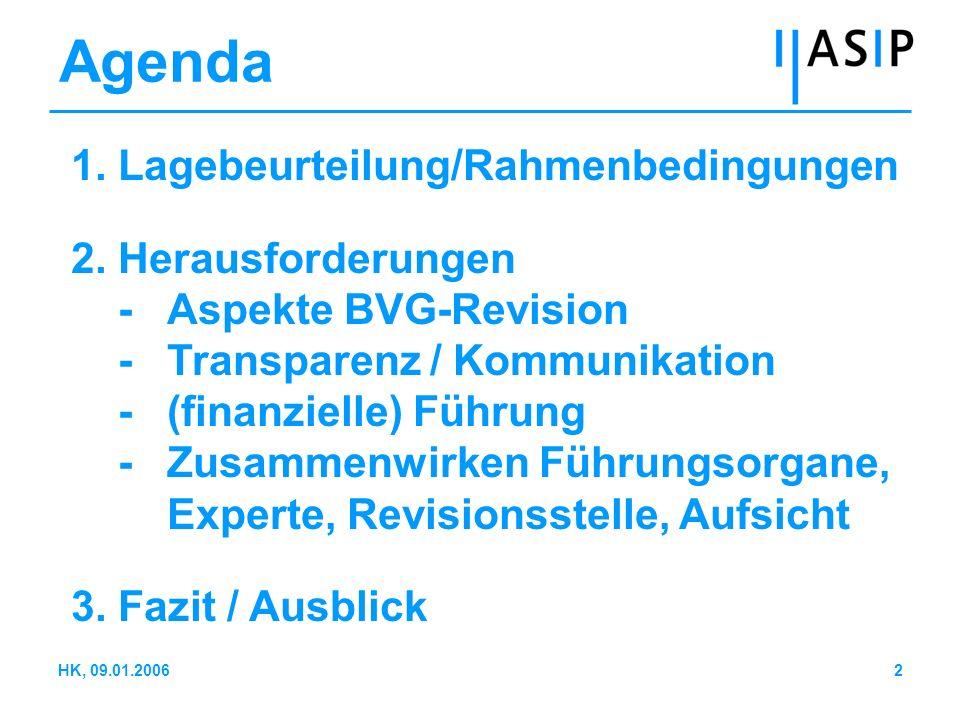 13HK, 09.01.2006 Transparenz (2) Führungswirksame Transparenz Überwachen der tatsächlichen finanziel- len Lage: -Führungsrelevante Informationen: Prozess -Rechnungslegungsvorschriften (Swiss GAAP FER 26): Status Kommunikation mit den Versicherten