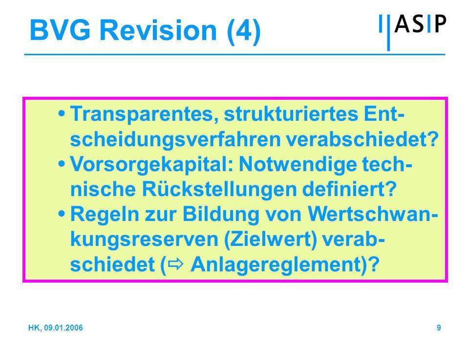 9HK, 09.01.2006 BVG Revision (4) Transparentes, strukturiertes Ent- scheidungsverfahren verabschiedet? Vorsorgekapital: Notwendige tech- nische Rückst