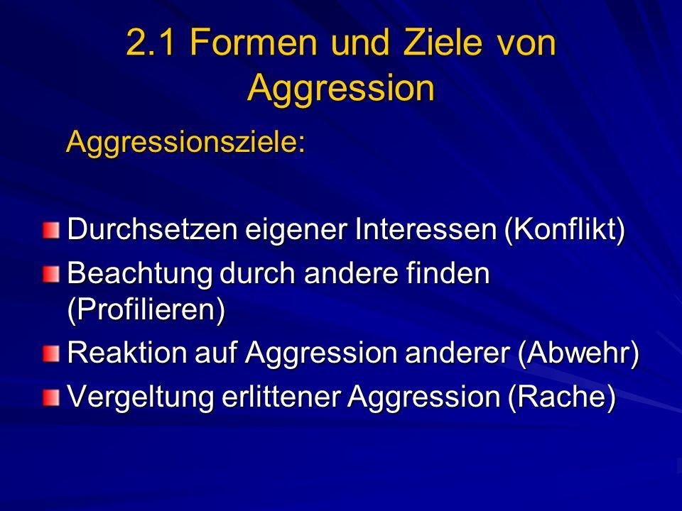 2.1 Formen und Ziele von Aggression Aggressionsziele: Aggressionsziele: Durchsetzen eigener Interessen (Konflikt) Beachtung durch andere finden (Profi