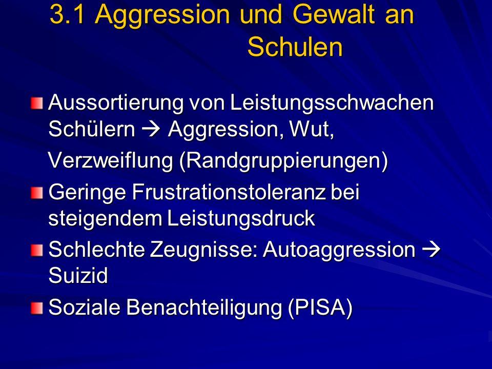3.1 Aggression und Gewalt an Schulen Aussortierung von Leistungsschwachen Schülern Aggression, Wut, Verzweiflung (Randgruppierungen) Verzweiflung (Ran