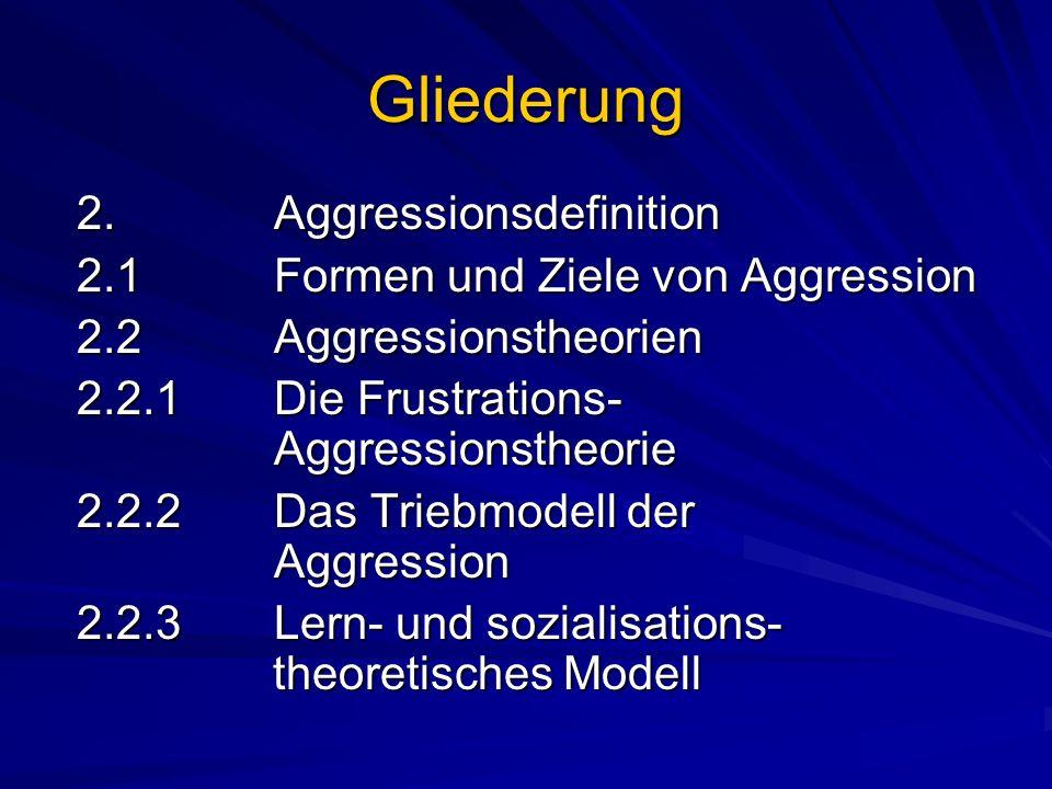 Gliederung 2. Aggressionsdefinition 2. Aggressionsdefinition 2.1Formen und Ziele von Aggression 2.1Formen und Ziele von Aggression 2.2Aggressionstheor
