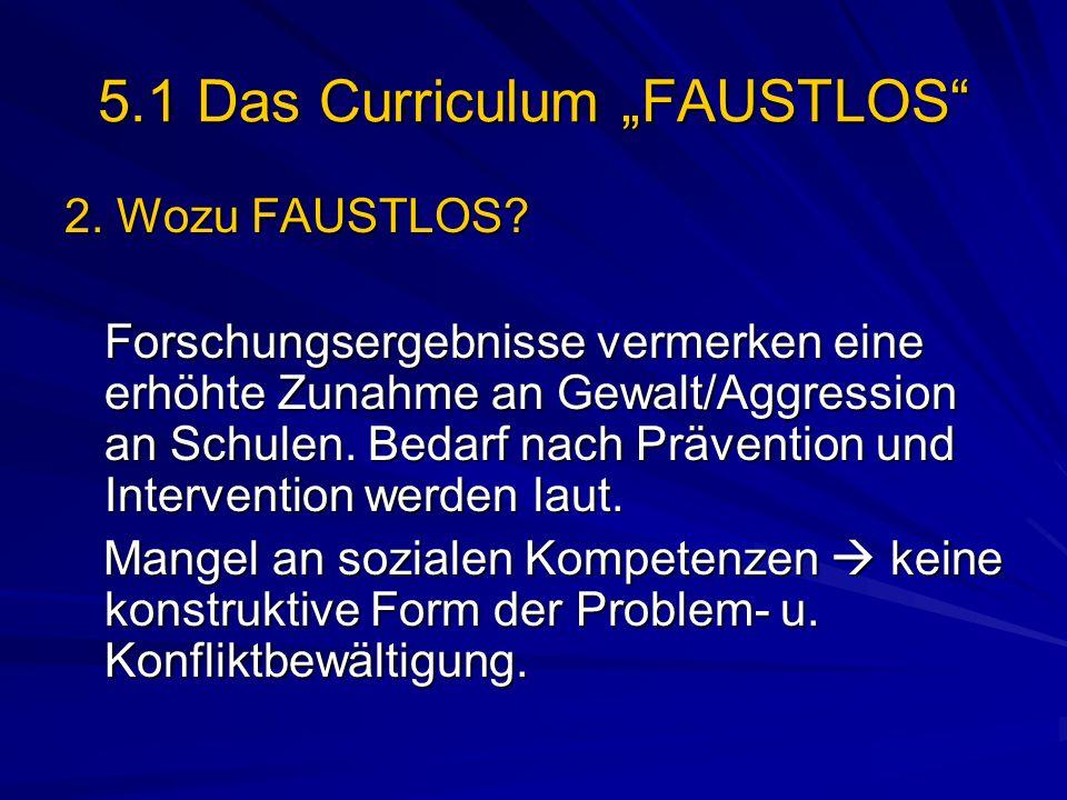 5.1 Das Curriculum FAUSTLOS 2. Wozu FAUSTLOS? Forschungsergebnisse vermerken eine erhöhte Zunahme an Gewalt/Aggression an Schulen. Bedarf nach Prävent
