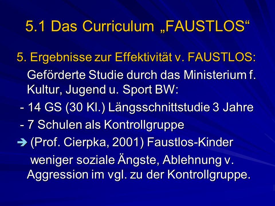 5.1 Das Curriculum FAUSTLOS 5. Ergebnisse zur Effektivität v. FAUSTLOS: Geförderte Studie durch das Ministerium f. Kultur, Jugend u. Sport BW: - 14 GS