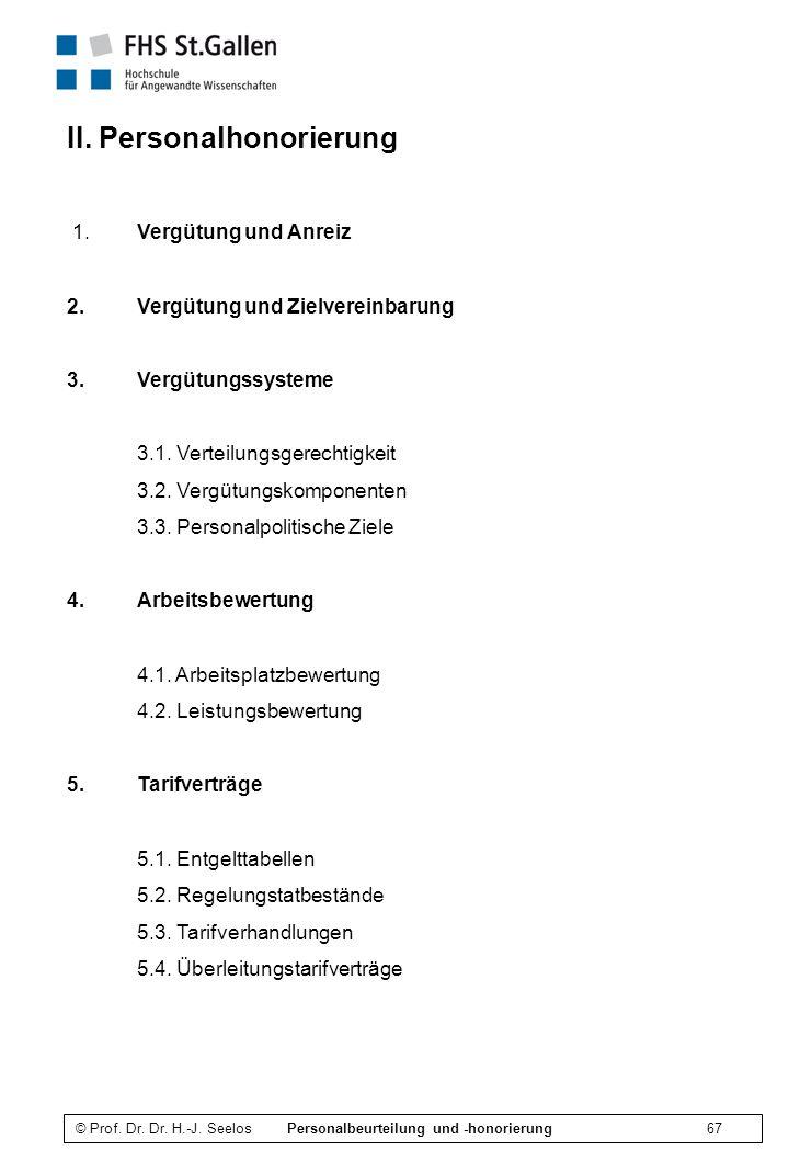 © Prof.Dr. Dr. H.-J. Seelos Personalbeurteilung und -honorierung 67 II.