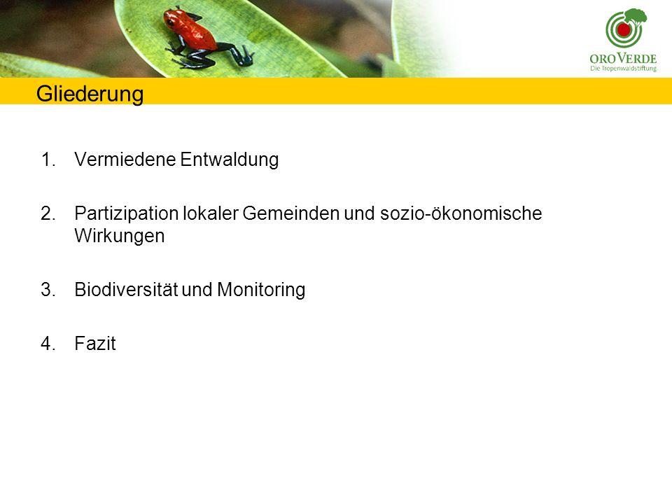 Gliederung 1.Vermiedene Entwaldung 2.Partizipation lokaler Gemeinden und sozio-ökonomische Wirkungen 3.Biodiversität und Monitoring 4.Fazit