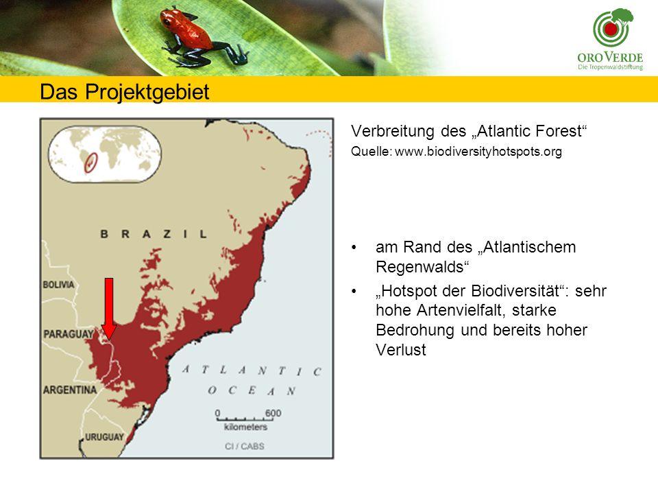 Das Projektgebiet Verbreitung des Atlantic Forest Quelle: www.biodiversityhotspots.org am Rand des Atlantischem Regenwalds Hotspot der Biodiversität: sehr hohe Artenvielfalt, starke Bedrohung und bereits hoher Verlust