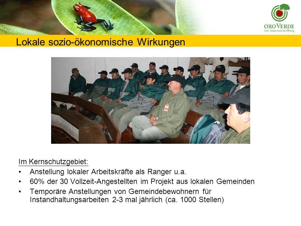 Lokale sozio-ökonomische Wirkungen Im Kernschutzgebiet: Anstellung lokaler Arbeitskräfte als Ranger u.a.
