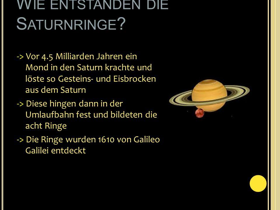 W IE ENTSTANDEN DIE S ATURNRINGE ? -> Vor 4.5 Milliarden Jahren ein Mond in den Saturn krachte und löste so Gesteins- und Eisbrocken aus dem Saturn ->