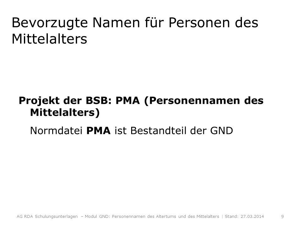 Bevorzugte Namen für Personen des Mittelalters Projekt der BSB: PMA (Personennamen des Mittelalters) Normdatei PMA ist Bestandteil der GND AG RDA Schu