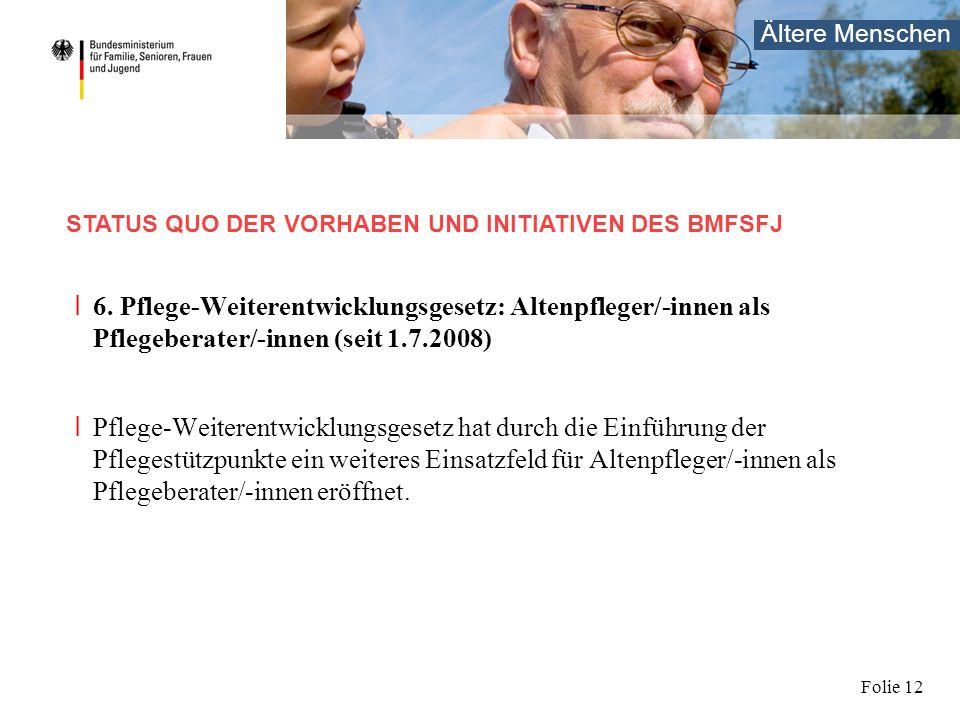Ältere Menschen Folie 12 I 6. Pflege-Weiterentwicklungsgesetz: Altenpfleger/-innen als Pflegeberater/-innen (seit 1.7.2008) I Pflege-Weiterentwicklung