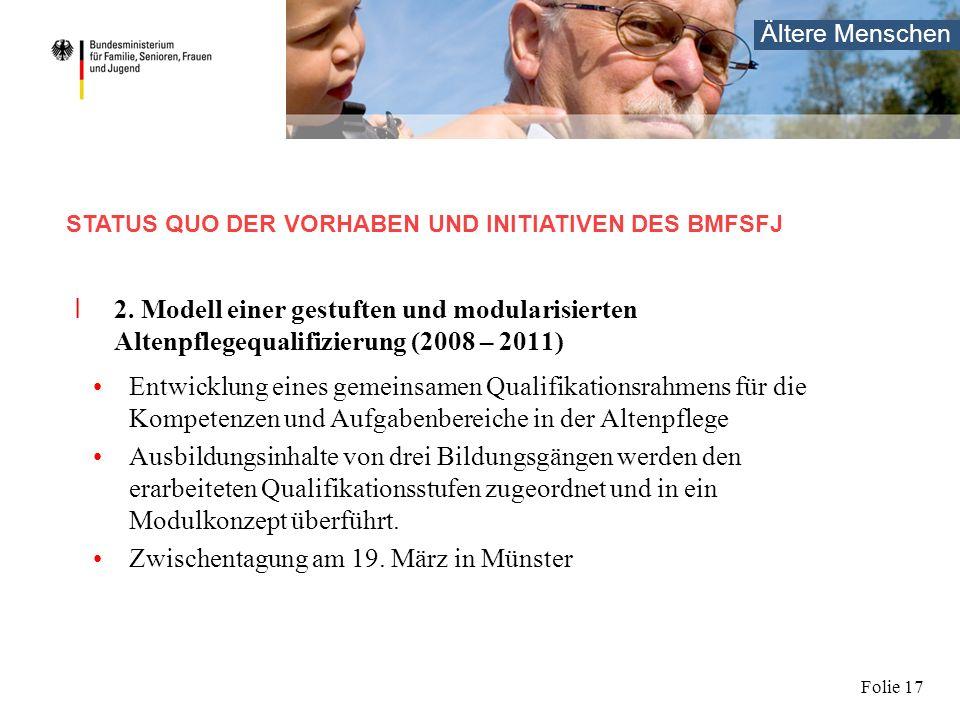 Ältere Menschen Folie 17 I 2. Modell einer gestuften und modularisierten Altenpflegequalifizierung (2008 – 2011) Entwicklung eines gemeinsamen Qualifi