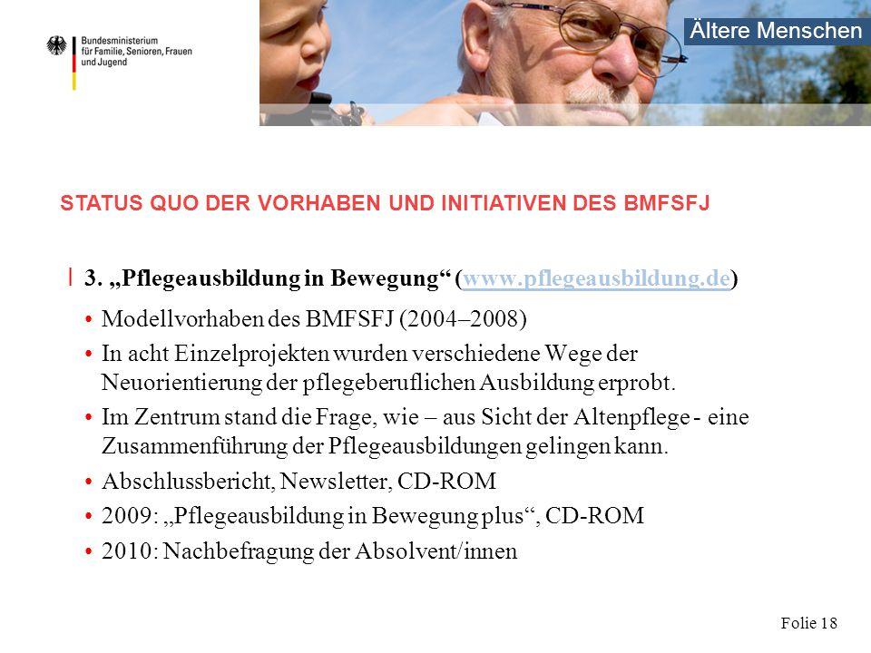 Ältere Menschen Folie 18 I 3. Pflegeausbildung in Bewegung (www.pflegeausbildung.de)www.pflegeausbildung.de Modellvorhaben des BMFSFJ (2004–2008) In a