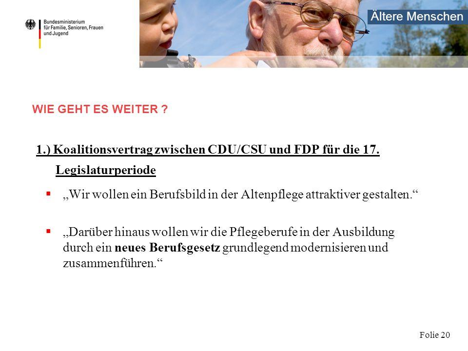Ältere Menschen Folie 20 1.) Koalitionsvertrag zwischen CDU/CSU und FDP für die 17. Legislaturperiode Wir wollen ein Berufsbild in der Altenpflege att