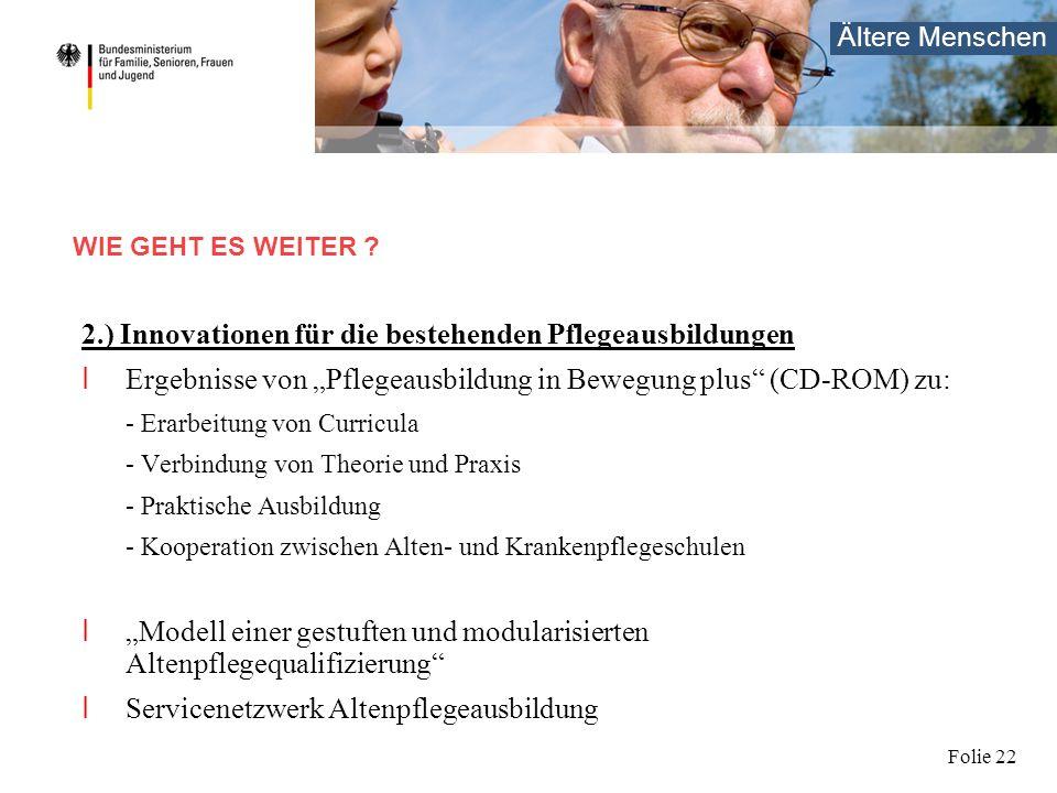 Ältere Menschen Folie 22 2.) Innovationen für die bestehenden Pflegeausbildungen I Ergebnisse von Pflegeausbildung in Bewegung plus (CD-ROM) zu: - Era
