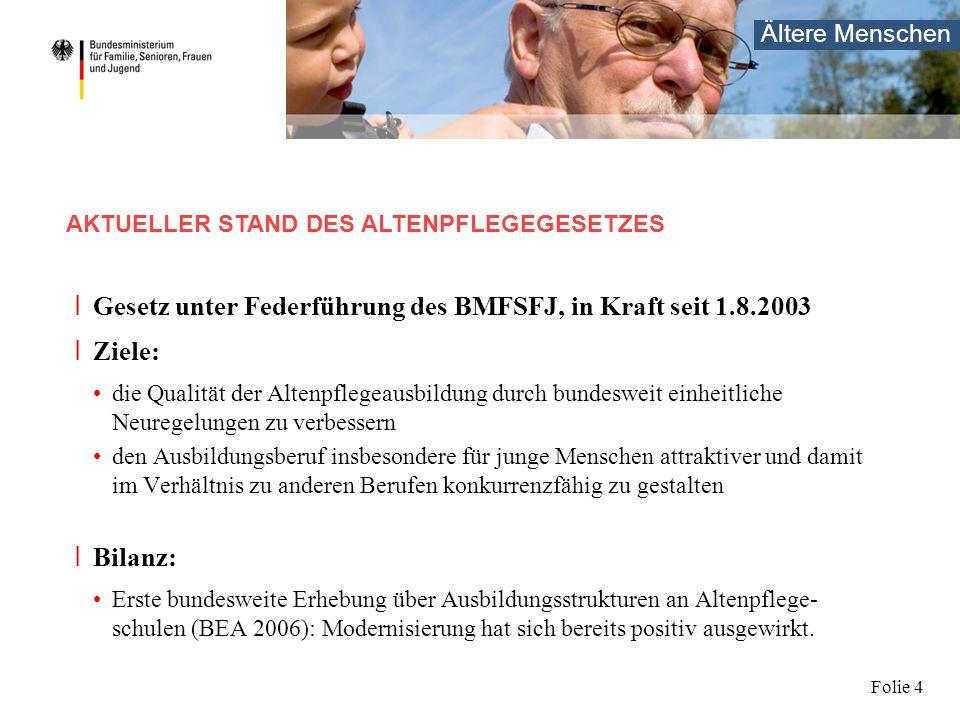 Ältere Menschen Folie 4 I Gesetz unter Federführung des BMFSFJ, in Kraft seit 1.8.2003 I Ziele: die Qualität der Altenpflegeausbildung durch bundeswei