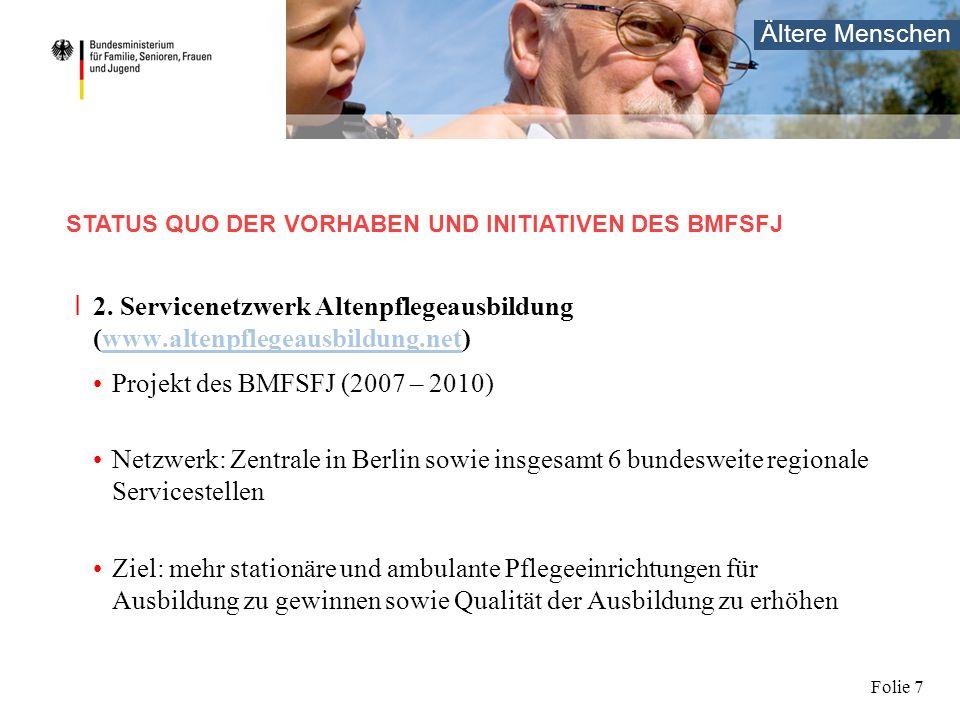 Ältere Menschen Folie 7 I 2. Servicenetzwerk Altenpflegeausbildung (www.altenpflegeausbildung.net)www.altenpflegeausbildung.net Projekt des BMFSFJ (20