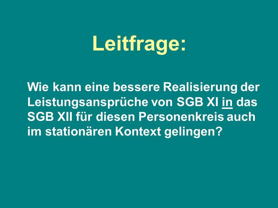 Leitfrage: Wie kann eine bessere Realisierung der Leistungsansprüche von SGB XI in das SGB XII für diesen Personenkreis auch im stationären Kontext ge