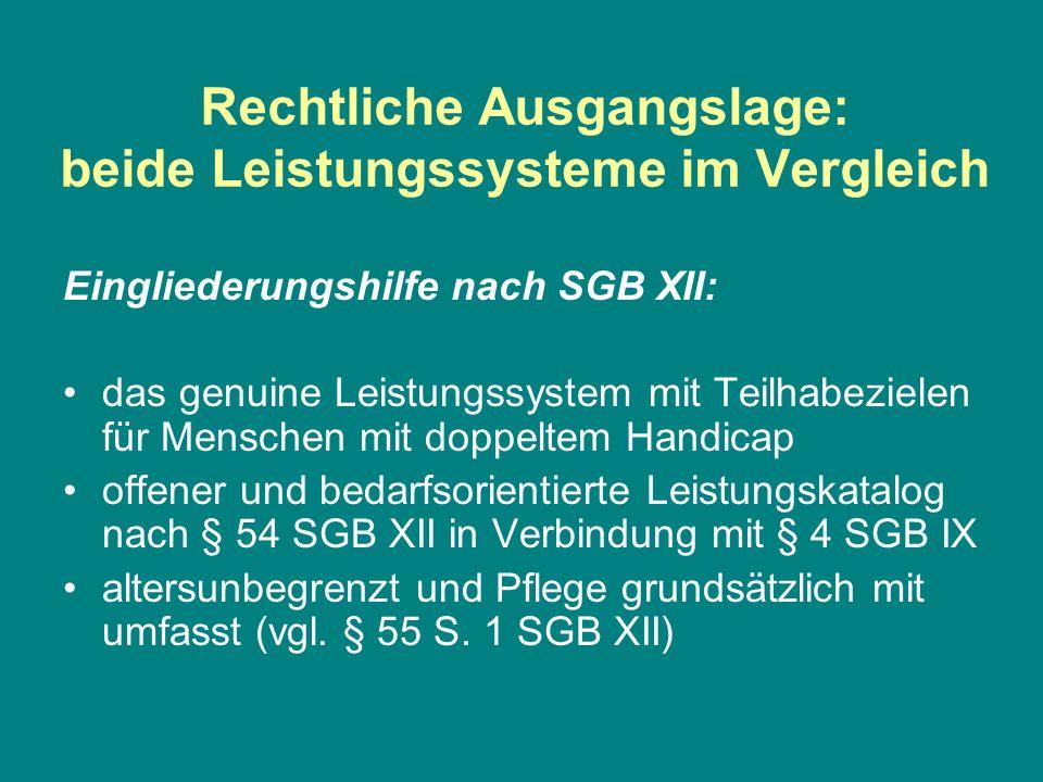 Rechtliche Ausgangslage: beide Leistungssysteme im Vergleich Eingliederungshilfe nach SGB XII: das genuine Leistungssystem mit Teilhabezielen für Mens