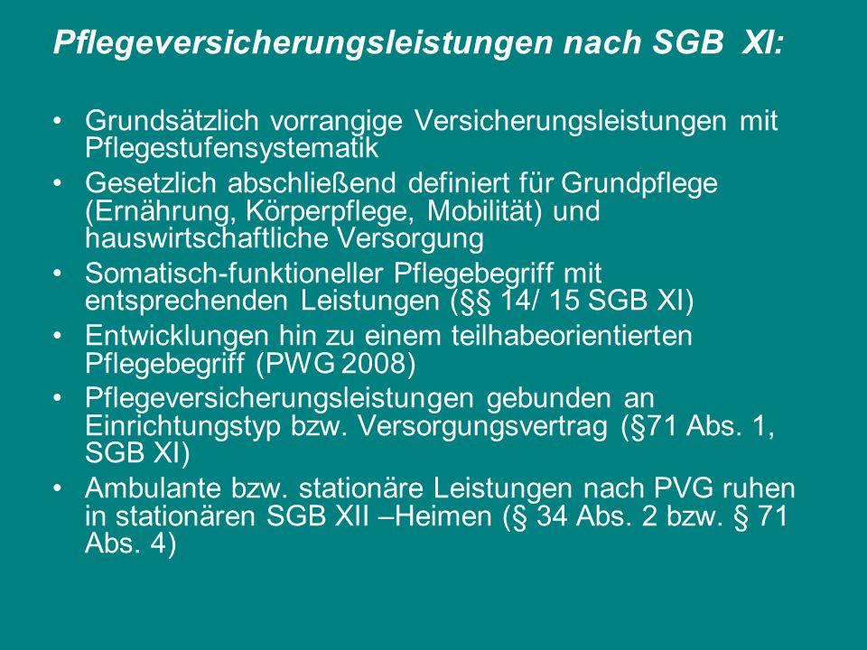 Pflegeversicherungsleistungen nach SGB XI: Grundsätzlich vorrangige Versicherungsleistungen mit Pflegestufensystematik Gesetzlich abschließend definie