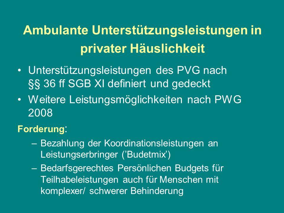 Ambulante Unterstützungsleistungen in privater Häuslichkeit Unterstützungsleistungen des PVG nach §§ 36 ff SGB XI definiert und gedeckt Weitere Leistu
