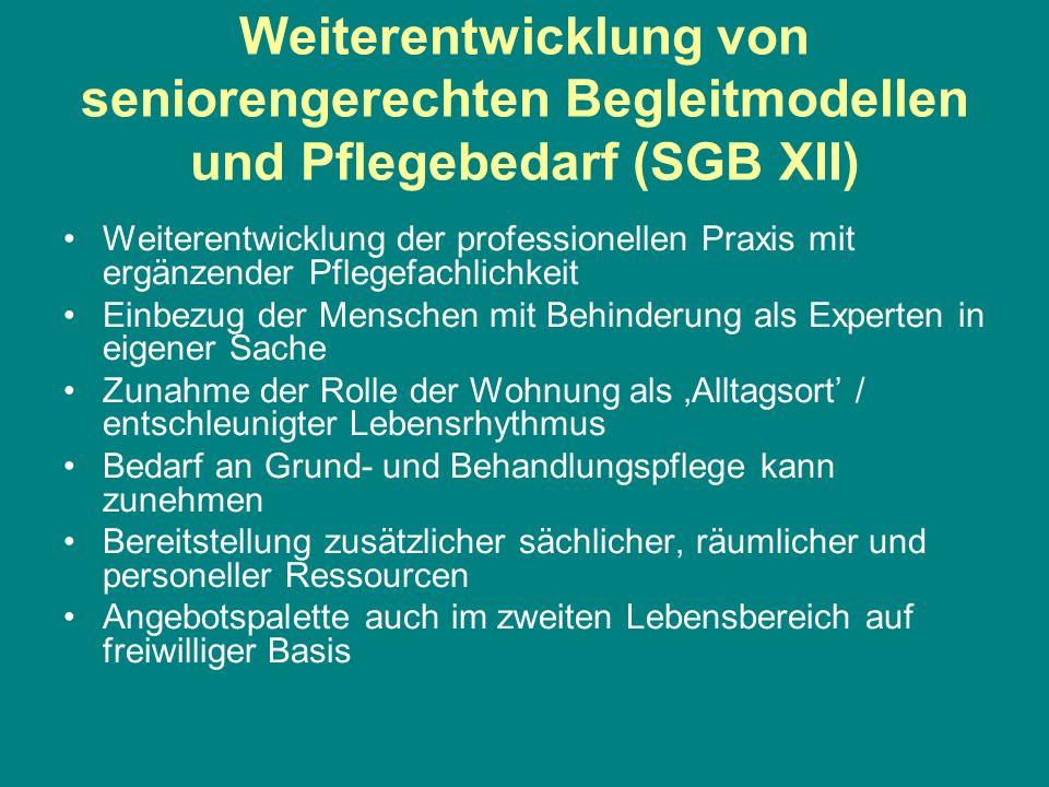 Weiterentwicklung von seniorengerechten Begleitmodellen und Pflegebedarf (SGB XII) Weiterentwicklung der professionellen Praxis mit ergänzender Pflege