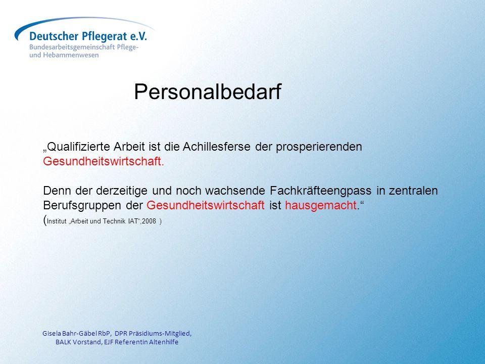 Gisela Bahr-Gäbel RbP, DPR Präsidiums-Mitglied, BALK Vorstand, EJF Referentin Altenhilfe Personalbedarf Qualifizierte Arbeit ist die Achillesferse der prosperierenden Gesundheitswirtschaft.