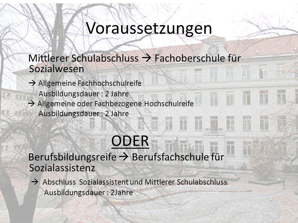 Voraussetzungen Mittlerer Schulabschluss Fachoberschule für Sozialwesen Allgemeine Fachhochschulreife Ausbildungsdauer : 2 Jahre Allgemeine oder Fachb