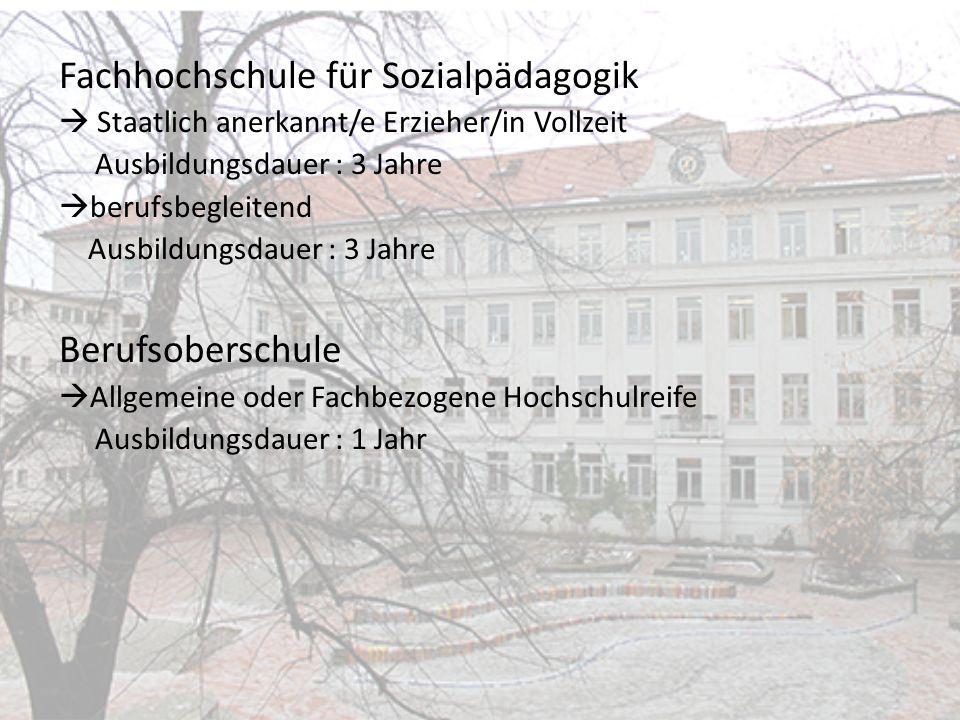 Fachhochschule für Sozialpädagogik Staatlich anerkannt/e Erzieher/in Vollzeit Ausbildungsdauer : 3 Jahre berufsbegleitend Ausbildungsdauer : 3 Jahre B