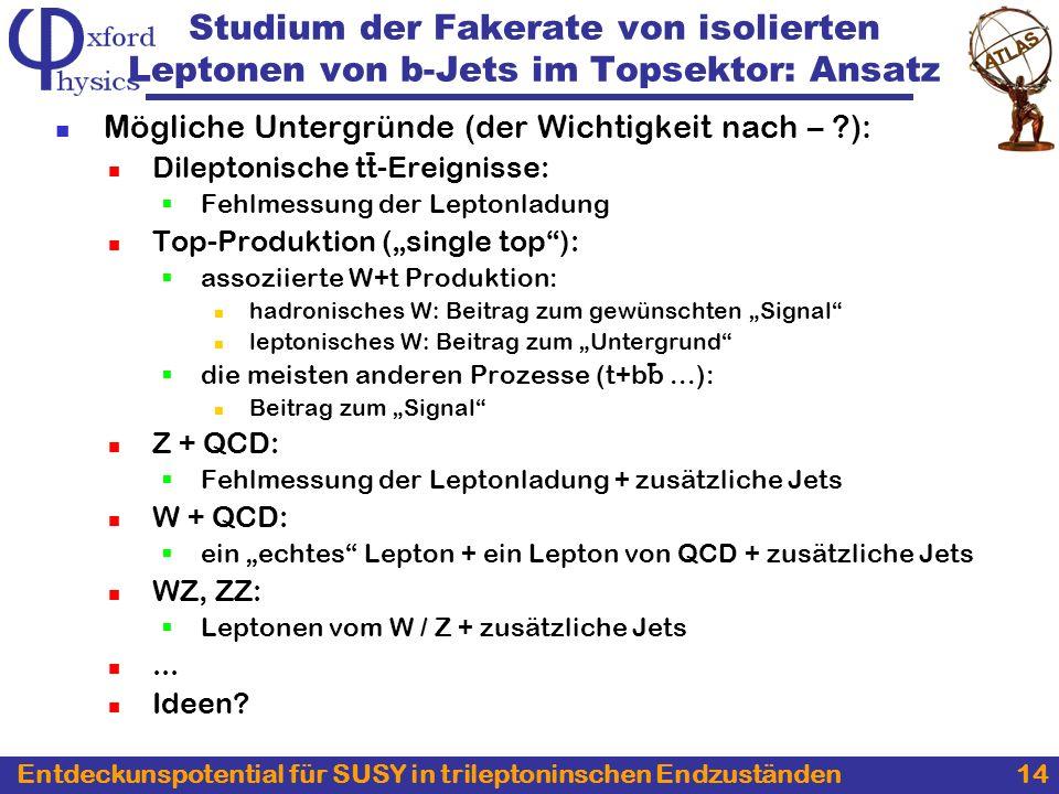 Entdeckunspotential für SUSY in trileptoninschen Endzuständen 14 Mögliche Untergründe (der Wichtigkeit nach – ?): Dileptonische tt-Ereignisse: Fehlmessung der Leptonladung Top-Produktion (single top): assoziierte W+t Produktion: hadronisches W: Beitrag zum gewünschten Signal leptonisches W: Beitrag zum Untergrund die meisten anderen Prozesse (t+bb...): Beitrag zum Signal Z + QCD: Fehlmessung der Leptonladung + zusätzliche Jets W + QCD: ein echtes Lepton + ein Lepton von QCD + zusätzliche Jets WZ, ZZ: Leptonen vom W / Z + zusätzliche Jets...