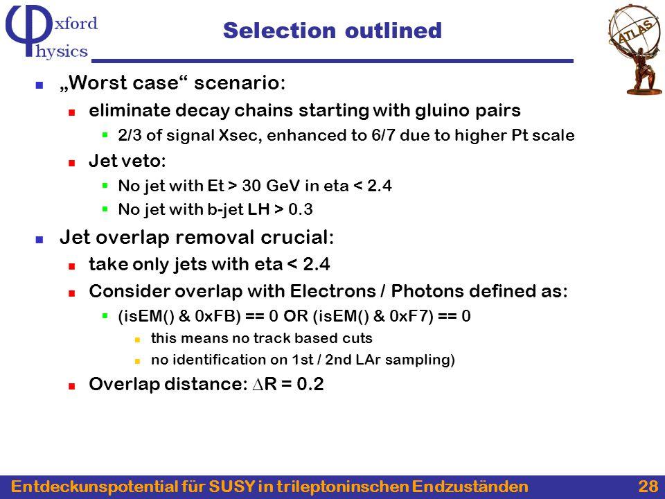 Entdeckunspotential für SUSY in trileptoninschen Endzuständen 28 Selection outlined Worst case scenario: eliminate decay chains starting with gluino p