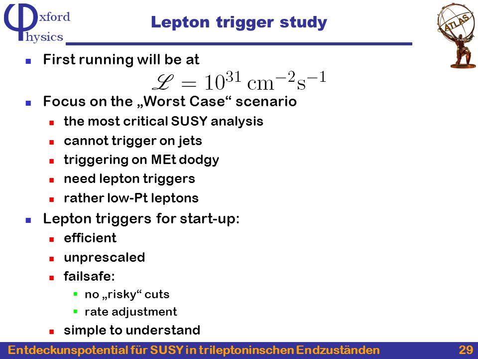 Entdeckunspotential für SUSY in trileptoninschen Endzuständen 29 Lepton trigger study First running will be at Focus on the Worst Case scenario the mo