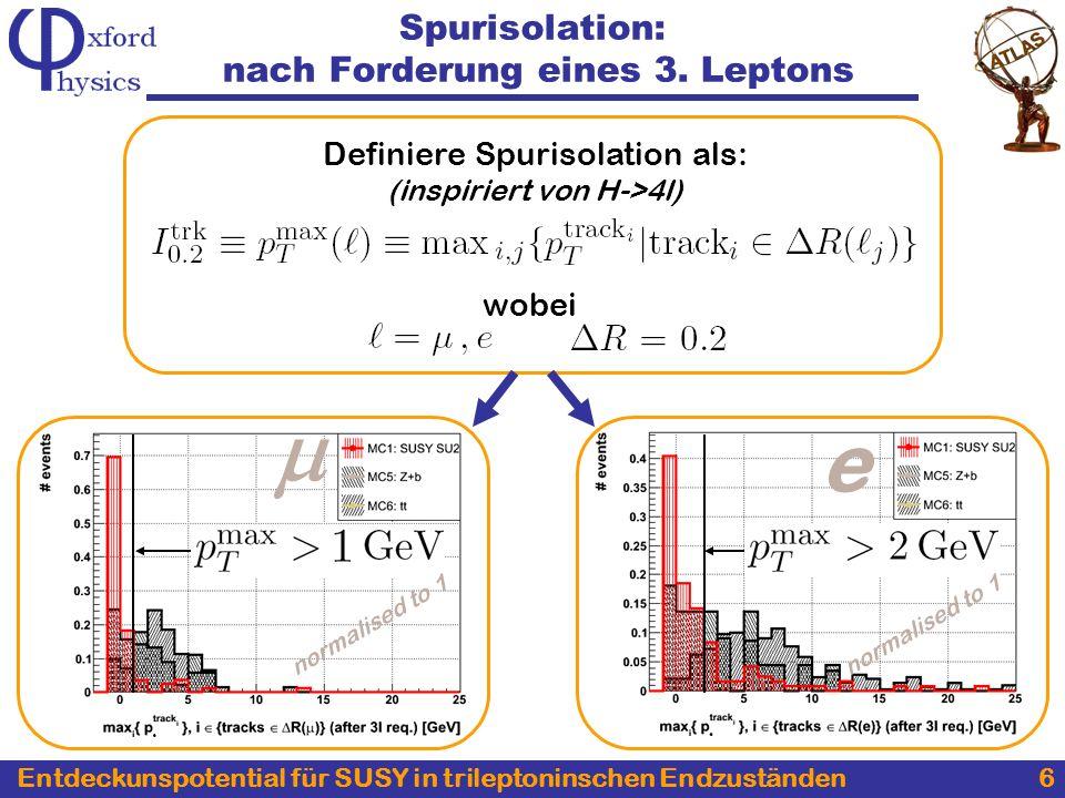 Entdeckunspotential für SUSY in trileptoninschen Endzuständen 6 Spurisolation: nach Forderung eines 3.