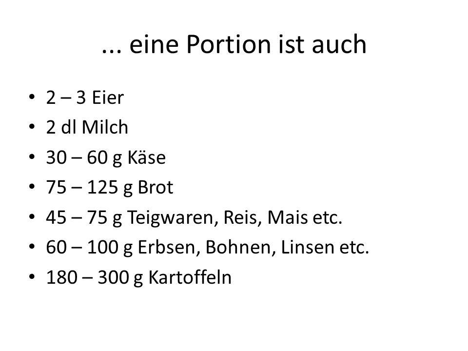 ... eine Portion ist auch 2 – 3 Eier 2 dl Milch 30 – 60 g Käse 75 – 125 g Brot 45 – 75 g Teigwaren, Reis, Mais etc. 60 – 100 g Erbsen, Bohnen, Linsen